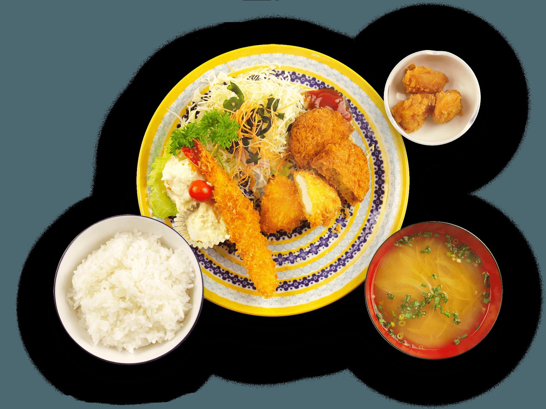 エビフライ、チキンカツ、コロッケ定食