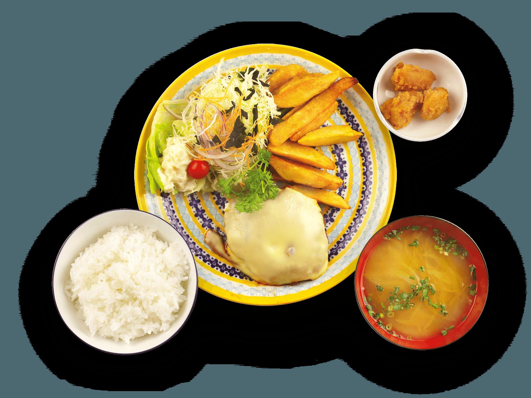 チーズハンバーグとフライドポテト定食